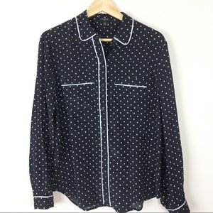 Ann Taylor silk career button down top navy Med